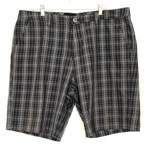 Hurley Black and White Plaid Shorts